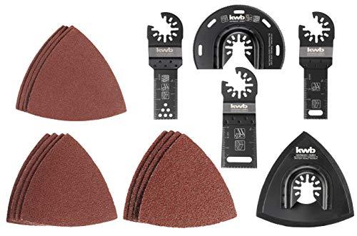 kwb by Einhell 17-tlg Multi-Tool-Set für Holz, Metall und Kunststoff (passend für alle Einhell Multifunktionswerkzeuge, 3x Tauchsägeblatt, 1x Segmentsägeblatt, Dreieckschleifplatte, 12x Schleifpapier)