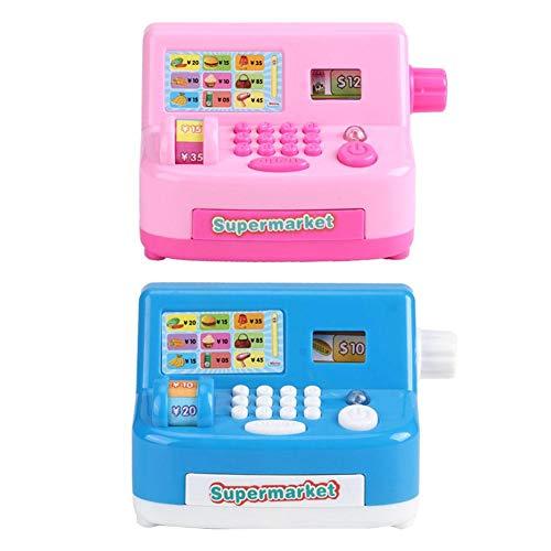YOUTHINK Mini Caja Registradora Rosada del Supermercado Juego de Simulación Juguete para Niños Regalo Educativo del Juego de Roles(Azul)