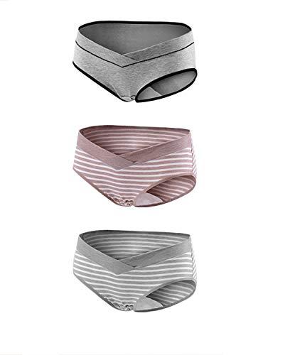 KUCI マタニティ下着,KUCI女性の妊娠中のマタニティ ショーツ ローライズU字型 産前 産後 綿,3枚組 XXL, Grey+Grey Stripes+ Khaki Stripes3Pack