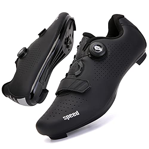 CHUIKUAJ Zapatillas de Ciclismo para Hombre Compatibles con Zapatillas Peleton SPD para Bicicleta de Carretera de Montaña Peloton para Interiores,Black-a-39EU