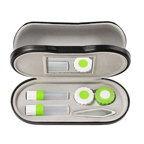 Twin Estuche para Gafas y lentillas con Espejo Incorporado, Estuche de gafas portátil doble cara 2 en 1 Perfecto para viajes en casa (Verde)