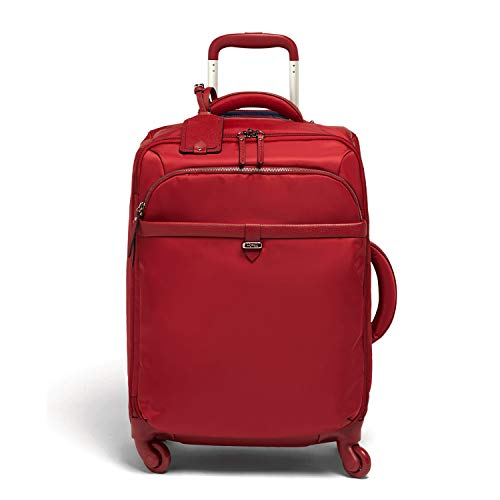 Lipault - Plume Avenue Spinner 55/20 Luggage - 22' Carry-On Rolling Bag for Women - Garnet Red