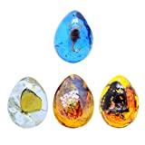 Garneck 4pcs Amber Insect Specimens Crafts,DIY Insect Beeswax Pendant Drop-Shaped Insect Specimen Amber Stones DIY Jewelry Accessories for Necklace Earrings Making Home Collection