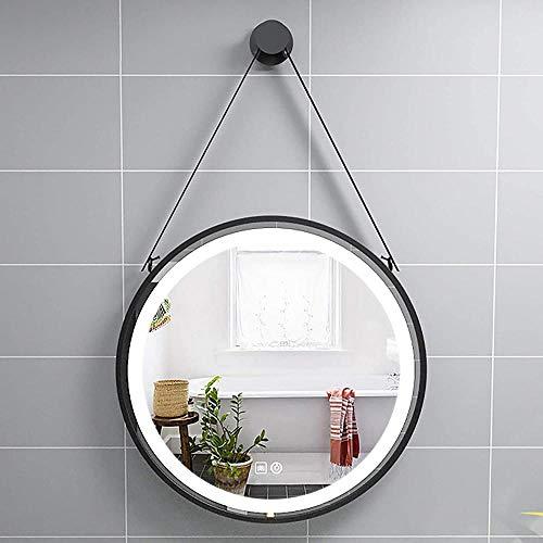 Espelho de banheiro iluminado com LED, espelho redondo de parede com moldura de metal, espelho decorativo com interruptor de toque, luz branca 6000K-6500K-LED + Anti-Fog(preto_?60c