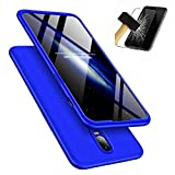 Funda OnePlus 6T 360°Caja Caso + Vidrio Templado Laixin 3 in 1 Carcasa Todo Incluido Anti-Scratch Protectora de teléfono Case Cover para OnePlus 6T (Azul)