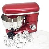 1500W 4L Tazón de acero inoxidable Cocina de 6 velocidades Mezclador de soporte de comida Crema Batidor de huevo Batidora Mezcladora de masa Máquina para hacer pan (Rojo y Plata) ESjasnyfall