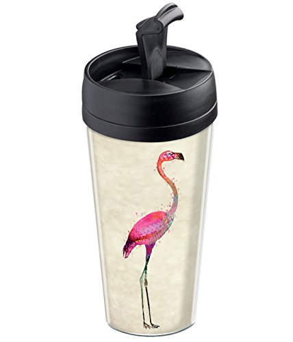 Wantit Isolierbecher Reise-Wunschtext pink Flamingo Kunststoff beige/rosa 7,8x 7,8x 17,5cm