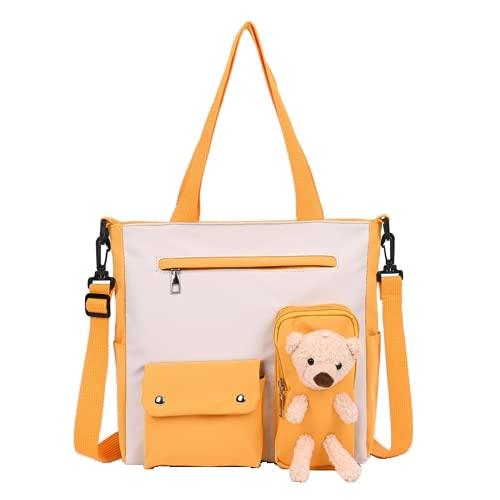 Bolso de hombro de la escuela del osito de peluche, bolso cruzado lindo de la felpa Kawaii mullido monedero embrague mensajero lona mochila niña, naranja/fiesta de bloques, Large
