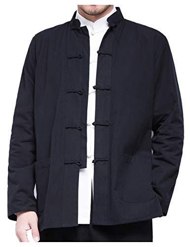 besbomig Herrenhemd Hanfu Tang-Anzug im chinesischen Stil Kungfu Jacken Langarm Baumwolle Tai Chi Uniform für Jugend Mittleren und Alten gealtert
