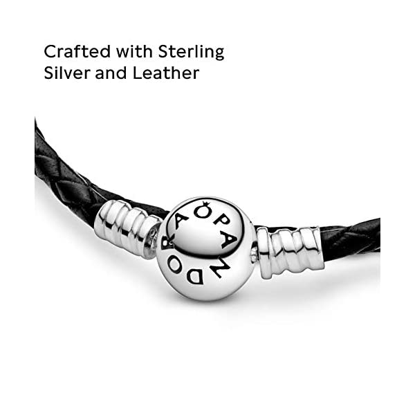 PANDORA Jewelry Black Leather Charm Sterling Silver Bracelet 4