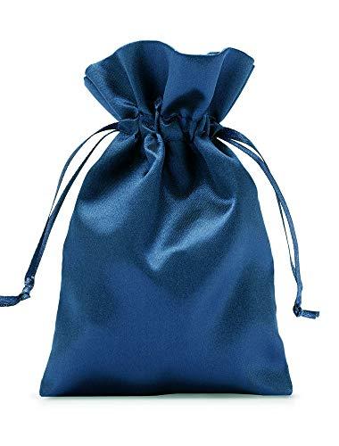 12 sacchetti in raso con cordoncino per la chiusura, misura 23x15 cm, sacchetto di raso, elegante involucro per regali, gioielli, Natale, calendario dell'Avvento (blu marino)