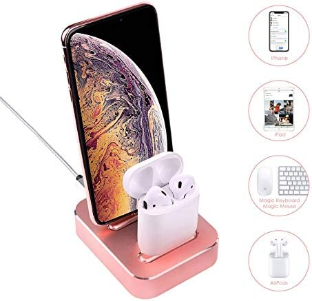 2 in 1 Charging Stand Compatible with iPhone 11 XS 8 8Plus 7 iPad Airpods1 2 Airpods pro Aluminum product image