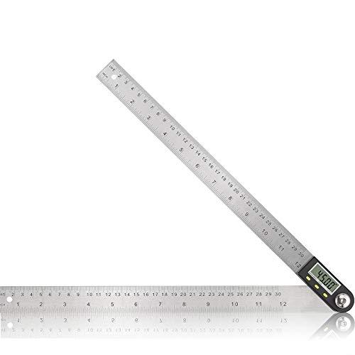 Digital Angle Finder Winkelmesser 12 Zoll / 300 mm Edelstahl Elektronisches Winkellineal mit Nullstellung Zurücksetzen des LCD-Displays für Holzbearbeitung Konstruktion Reparatur usw.