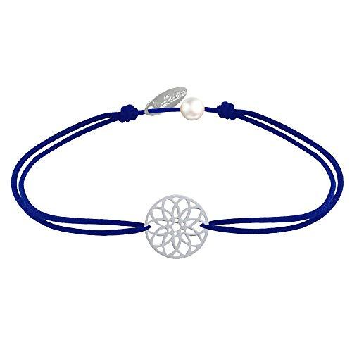 Joyas Les Poulettes - Pulsera de Enlace Medalla de Plata Mandala Semilla de Vida - Azul Marino