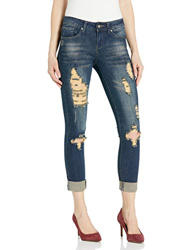 V.I.P.JEANS Junior's Skinny Ripped Distressed Denim Pants Cute Stone Washed, Vintage Blue, 13