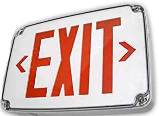 Wet location Exit sign with Ultra bright illumination, Double face, with Gray housing, RED letters and white face plate, impact resistant, flame only