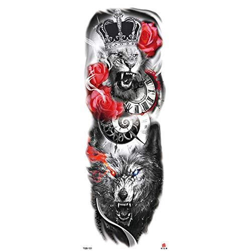 5pcs Full Arm Tattoo, Full Arm Waterproof Large Temporary Tattoos For Men Fake Big Tattoo Sticker Tatoo Devil