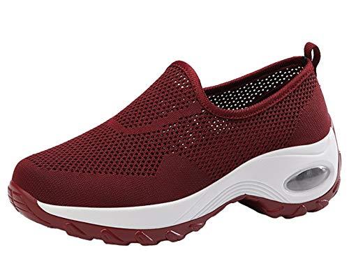 Santimon Basket Femme Engrener Respirantes Léger Extérieur Marchant Athlétique Compensées Décontracté Chaussures de Sport Rouge 35.5 EU