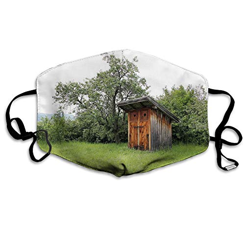 Nisdsgd Mundschutz Mund Anti-Staub-Abdeckung Mode,Wooden Little Hut Barn Shed Cottage in Nature Forest Image,Mouth Cver Wiederverwendbare Fack-Abdeckung Bunte Krawattenfarbe