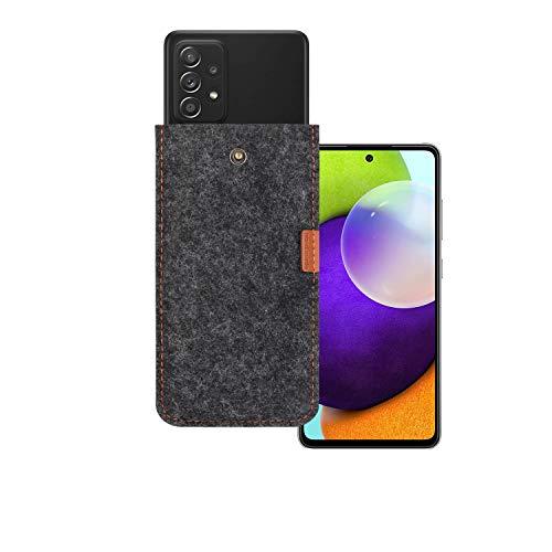 Handytasche handysocke hülle aus Filz mit Display geschützt + Klar Silikon Hülle/Schale/Bumper für Samsung Galaxy A52 4G&5G(6,5