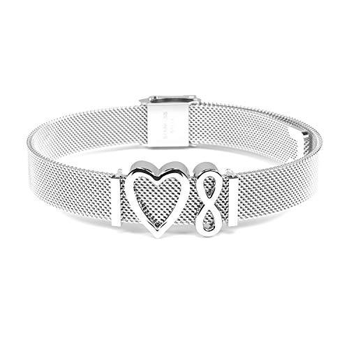 THIORA® - Simplicity Line | Mesh Armband Damen | Charmband Set | Individuelle Anhänger Charms für Frauen | Edelstahl | Silber Rosegold Gold Bracelet (Infinity - Silber)