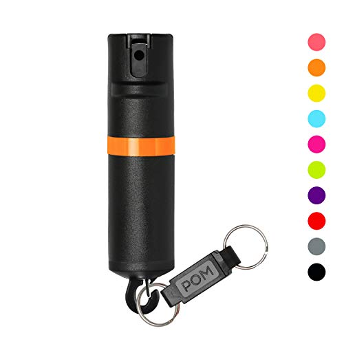 POM Pepper Spray Black Flip Top Snap Hook - Maximum Strength OC Spray Self Defense - Tactical Compact & Safe Design - Quick Key Release - 25 Bursts & 10 ft Range - Accurate Stream Pattern