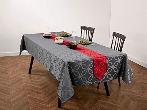 Meradiso Jacquard Tischdecke + Tischband für EIN edel gedeckte Tafel (2-teilig) Anthrazit Eckig