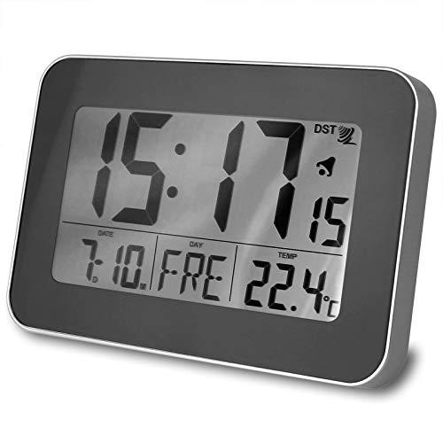 TW24 Funkwanduhr klein mit Farbwahl LCD Display Funk Wecker Digital Uhr Funkuhr Wanduhr Digitaluhr (Grau)