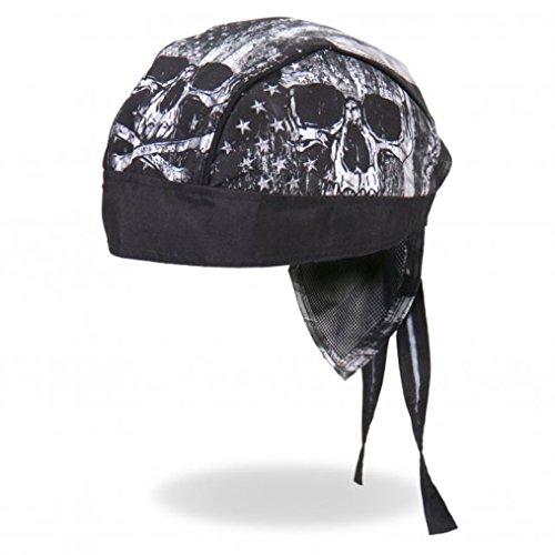 Hot Leathers Distressed USA American Patriotic Flag Skull Black Gray Head Wrap Durag Biker
