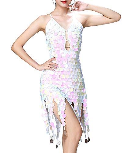 Mengmiao Damen Kleiden Pailletten Tanzen Latein Zumba Ärmellos Rückenfrei Kleid Weiß One Size
