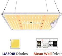Spider Farmer SF-1000 LED Grow Light with LM301B Diodes & Dimmable MeanWell Driver Sunlike Full Spectrum Plants Lights for Indoor Veg and Flower Growing Lamp