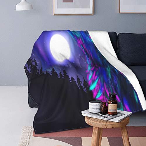 Peluche Couverture de Jet Doux Poids Léger,Imagerie du Nord avec Aurora Borealis Wolf Spirit Nuit étoilée de la forêt Magique,Couverture de Lit Couette de lit de Voyage,60\