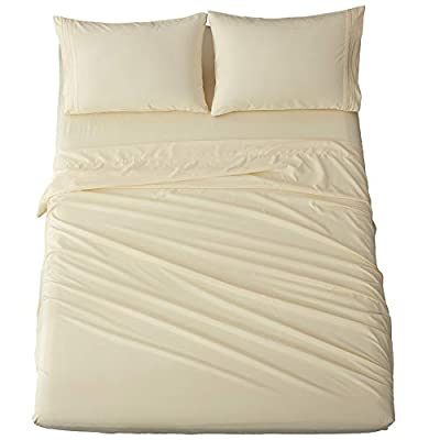 Shilucheng Bed Sheets Set Microfiber 1800 Thread Count Percale Super Soft and Comforterble 16 Inch Deep Pockets Wrinkle Fade and Hypoallergenic - 4 Piece (Ivory, King)