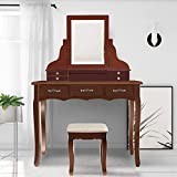 SCYL Color Your Life Vanity Table Set with Lighted LED Mirror,7 Drawers Makeup Dressing Table with Cushioned Stool,Easy Assembly (Brown)