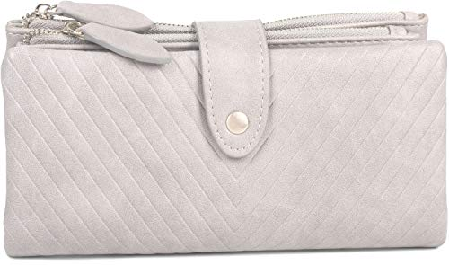 styleBREAKER Damen Portemonnaie mit V-Förmig geprägter Struktur, Druckknopf, Reißverschluss Geldbörse 02040124, Farbe:Hellgrau