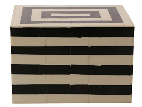 Handicrafts Home Caja de joyería y organizador de recuerdos de Concentrics, color blanco y negro, tamaño 6 x 4.5 x 4 pulgadas