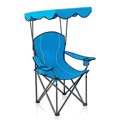 ALPHA CAMP Strandstuhl mit Sonnendach und Taschen, Kampierender Fischen-Garten-Stuhl Angelstuhl, Tragbarer Schatten-Überdachungs-Klappstuhl bis 150kg, Ideal für Camping Outdoor, Hellblau
