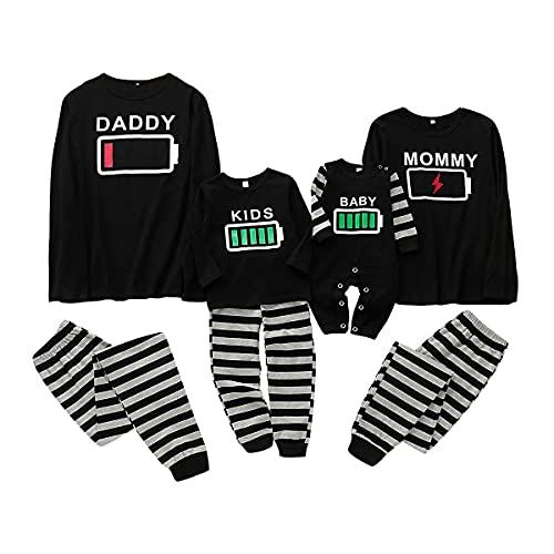 puseky Conjunto de Pijamas de Ropa Familiar a Juego Ropa de Dormir con Estampado de batería Ropa de...