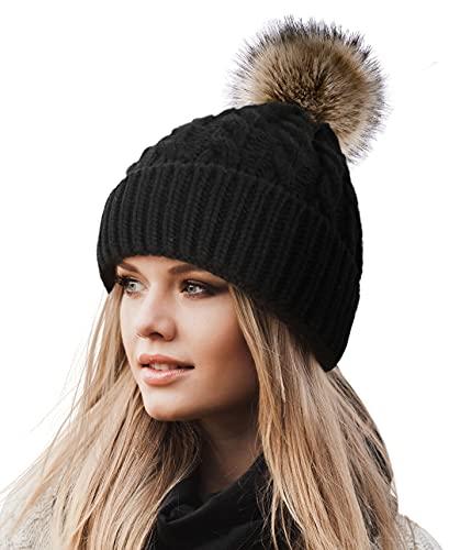 Livingston Women's Winter Soft Knit Beanie Hat with Faux Fur Pom Pom,Black