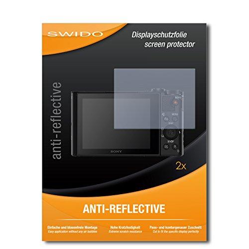 SWIDO Schutzfolie für Sony Cybershot DSC-WX500 [2 Stück] Anti-Reflex MATT Entspiegelnd, Hoher Härtegrad, Schutz vor Kratzer/Displayschutz, Displayschutzfolie, Panzerglas-Folie
