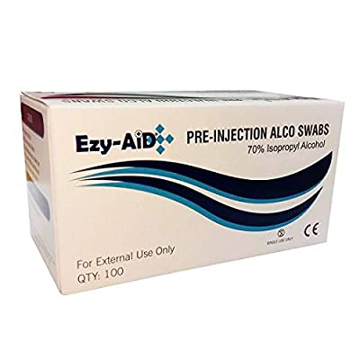 Ezy-Aid 70% Isopropyl Alcohol Pre-Injection Swabs (100pk) by Universal