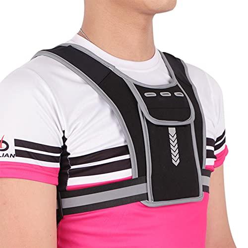 Chaleco con soporte para teléfono para correr, Chaleco reflectante con soporte para teléfono en el pecho para correr, Chaleco para correr negro impermeable ajustable Bolsa para caminar Correr Ciclismo
