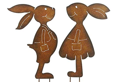 Nostalgic Garden 2er Set Gartenstecker Hasenpaar Mädchen und Junge Rost Deko Design (Beetstecker) XL