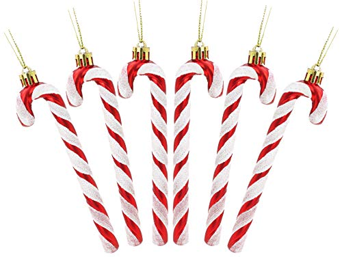 Christmas Concepts Pack Of 6-13cm Glitter Candy Cane Christmas Tree Decorations (Red & White)