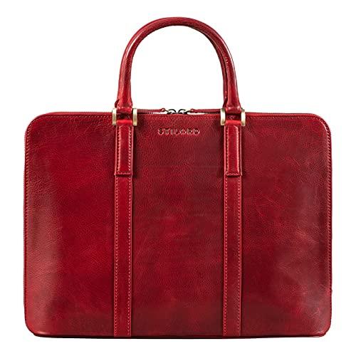 STILORD 'Dionys' Portdocumentos Cuero Hombre Maletín Vintage Grande Bolso Portdocumentos de Auténtica Piel Maletín Ejecutivo de Oficina para Ordenador Portátil, Color:Rojo