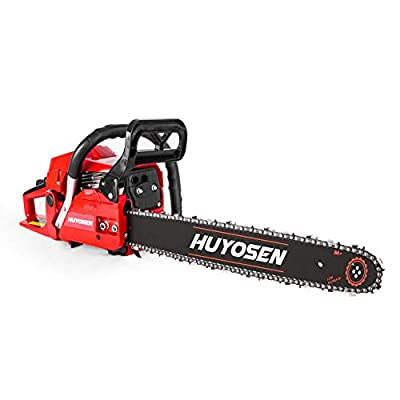 HUYOSEN Gas Power Chain Saws Red Black Corded 56CC 2 Cycle Gas Powered Chainsaw Guide bar Size 18 inchs 0.325inchs 72DL Chain Guide bar