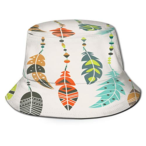 MAYUES Unisex Bucket Sun Hats Cute Vector Set Vintage Ethnic Feathers Fashion Summer Outdoor Travel Beach Fisherman Cap