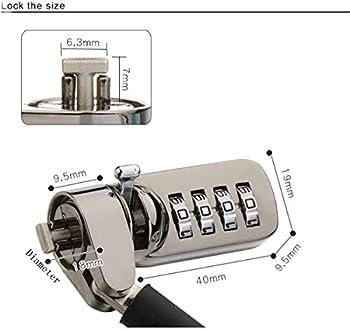 CaLeQi Computer Lock 4 Chiffres Mot de Passe de sécurité pour Ordinateur Portable PC 2 m Noir (5pcs)