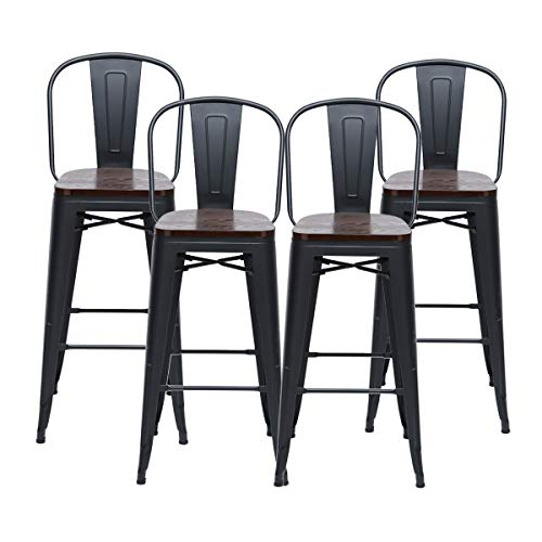 HAOBO Home 24' High Back Barstools Metal Stool with Wooden Seat [Set of 4] Counter Height Bar Stools, Matte Black