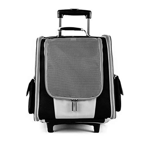 QuQiaoUK - Mochila con ruedas para mascotas, transpirable, diseño de cachorros de gatos, bolsa de viaje